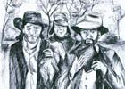 Pen sketch of Packer, Humphrey, and Bell, by Fay Potter